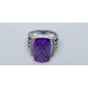 David Y 16x12mm Amethyst Diamond Ring Sz 8